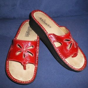 Alegria Red Cut Out Leather Sandals sz 36